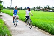 cycling along the countryside roads